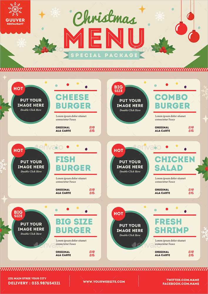 Christmas Menu Vector EPS Format Download Page 1