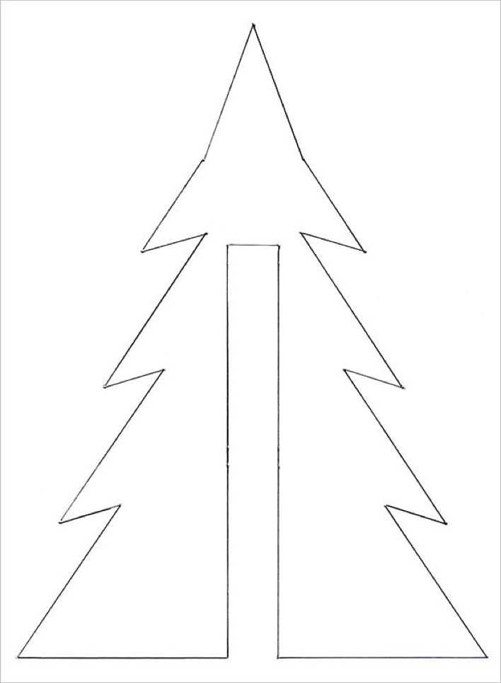 Christmas Tree Template Coloring for Children Page 1