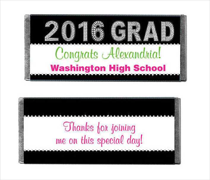 Class of 2016 Bling Personalized Candy Bars Wrapper Page 1