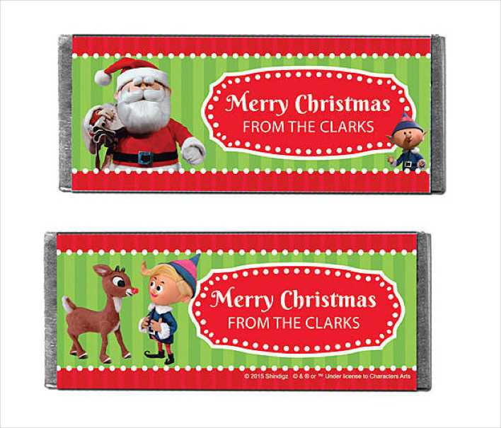 Classic Rudolph Personalized Candy Bars Wrapper Page 1