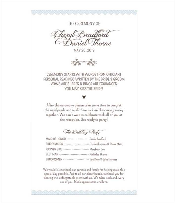 Classic Wedding Program Template For Download Page 1