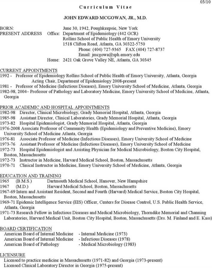 Clinical Microbiologist Resume Page 1