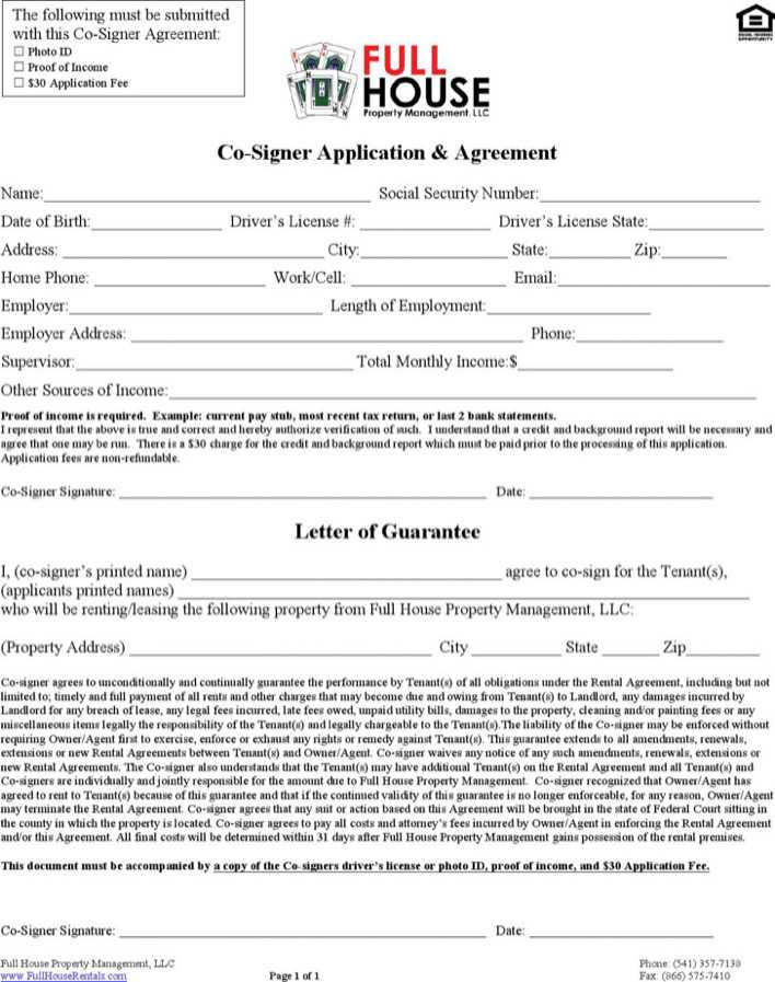 Co Signer Rental Agreement Letter Template Page 1