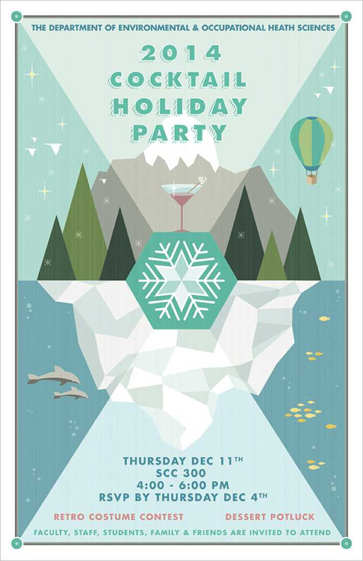 Cocktail Holiday Party Flyer Template Page 1