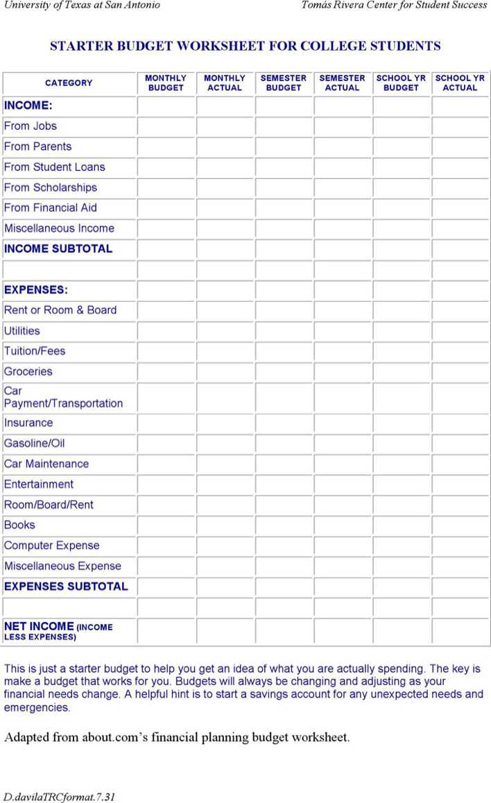 download college student budget template for free tidytemplates