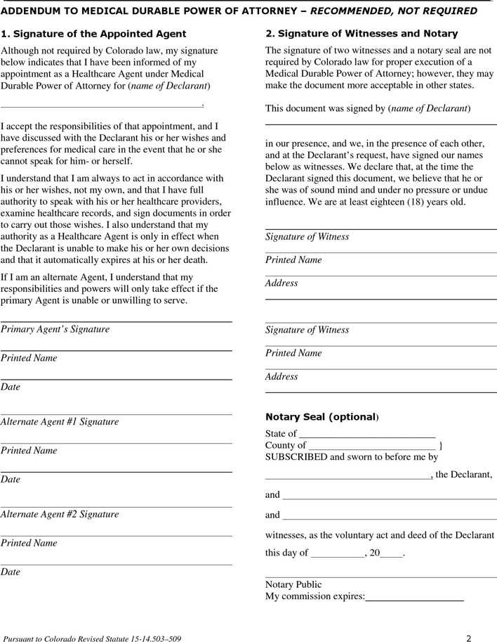 Colorado Health Care Power Of Attorney Form Page 2