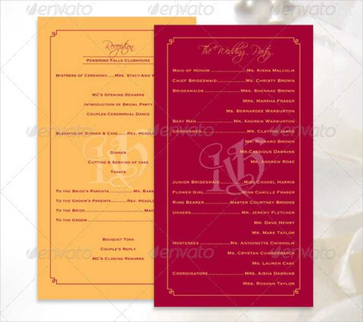 Colorful Wedding Program Template For Download Page 1