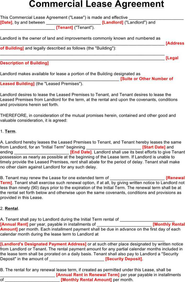 download commercial lease agreement for free page 4 tidytemplates