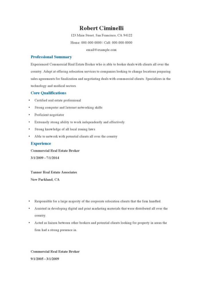 download commercial real estate broker resume samples for