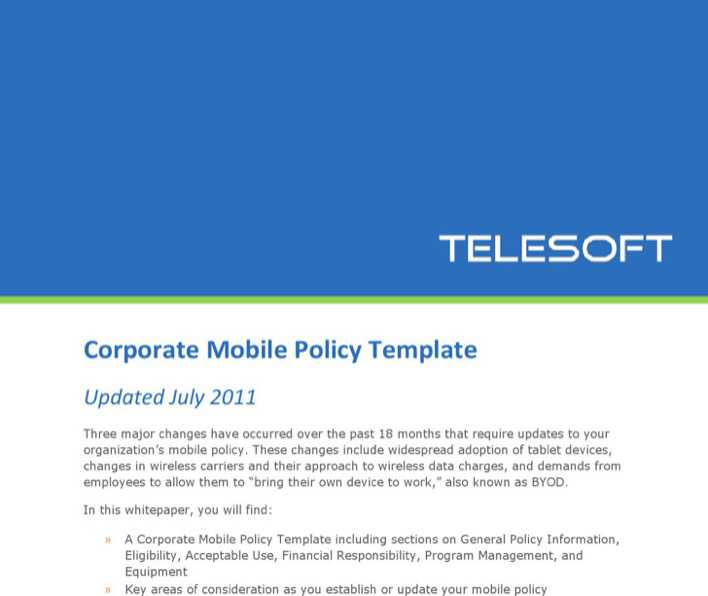 Download Company Cell Phone Policy Template For Free Tidytemplates