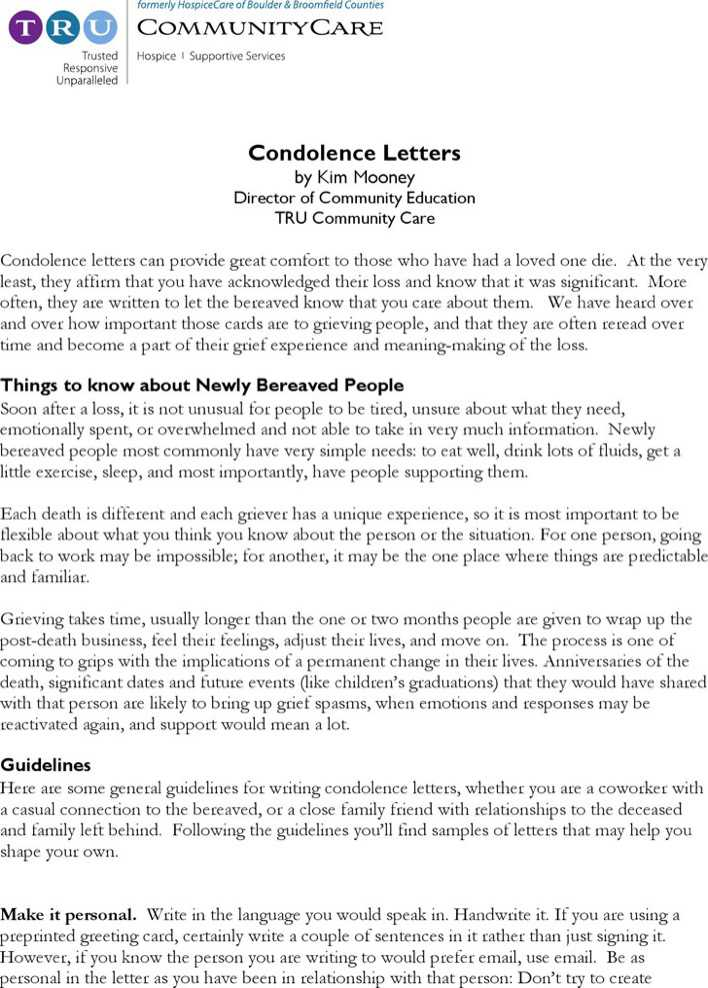 condolence message sample letter