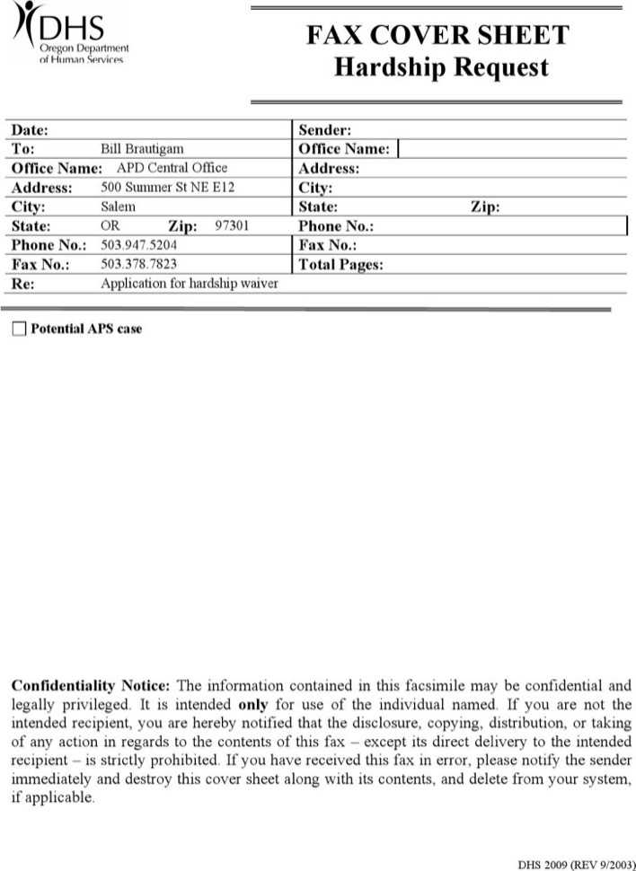 Confidential Fax Cover Sheet 1 Page 1