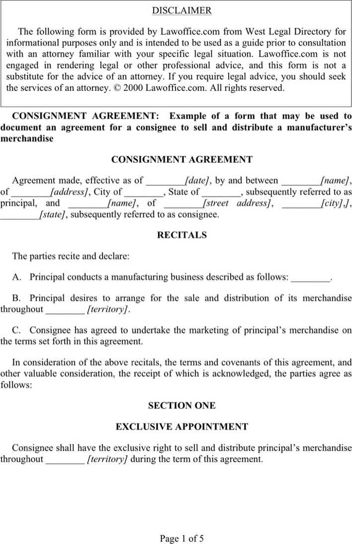 Download Consignment Agreement Template 1 For Free Page 5