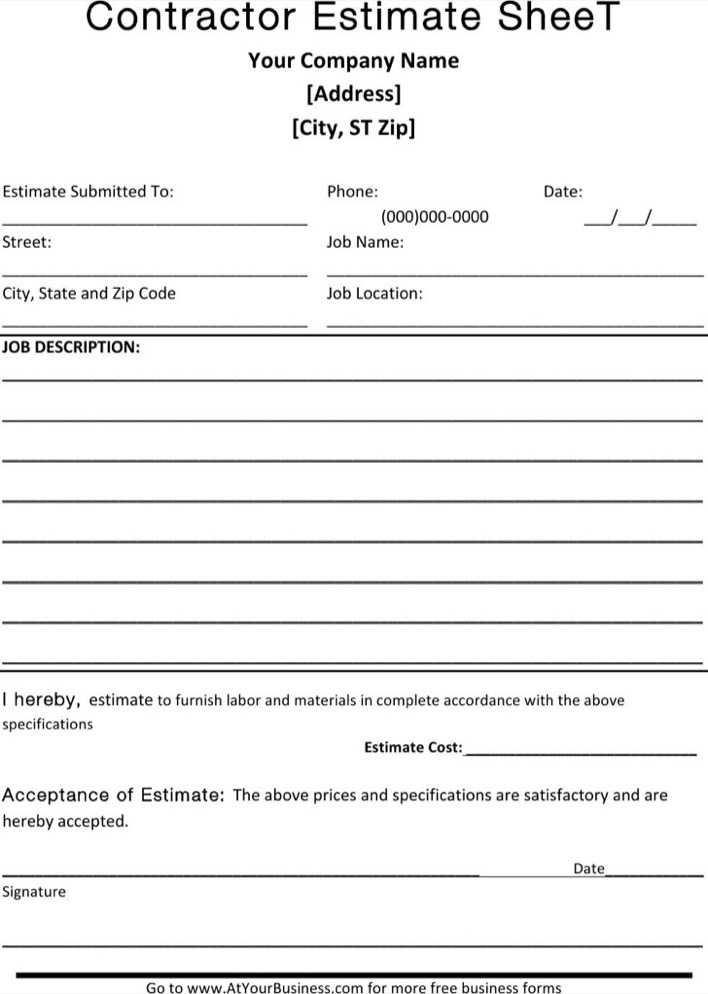download contractor blank estimate sheet template free download for