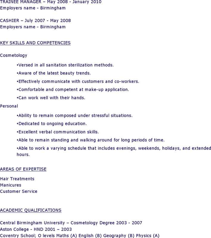 Cosmetology Student Resume Page 2