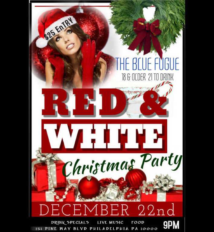 Create Your Red White Christmas Party Flyer Template Page 1