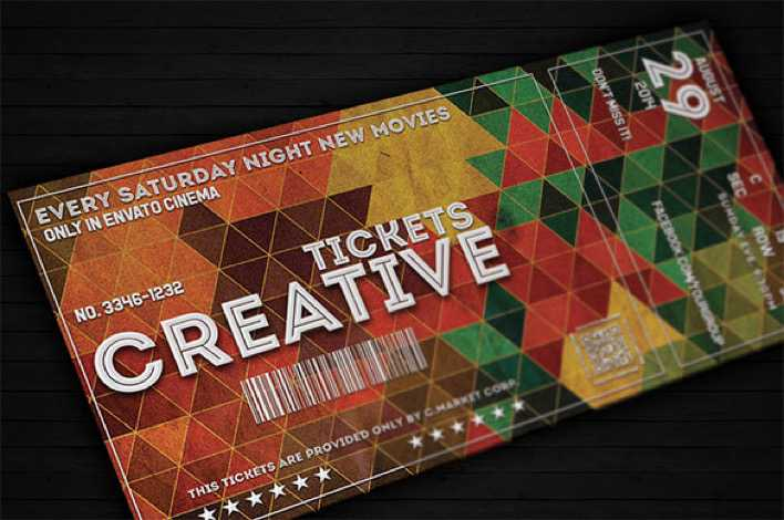 download creative ticket template design for movie night for free