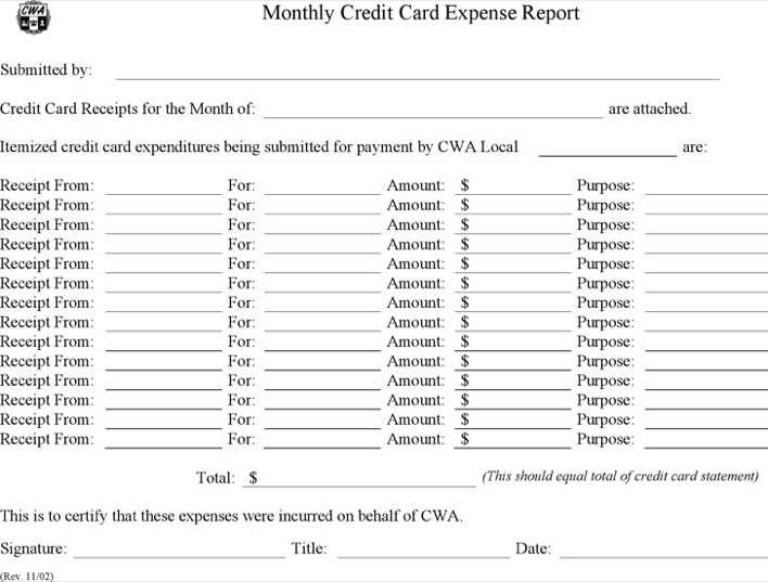 Credit Card Expense Report Template Page 1