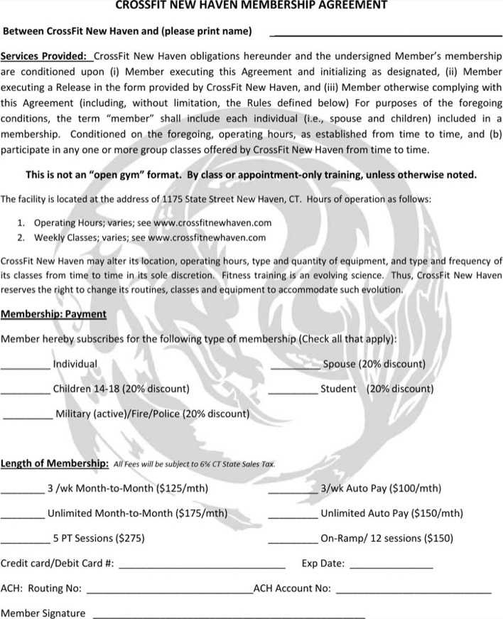 Crossfit Gym Contract Template Pdf Printable For Free Page 1