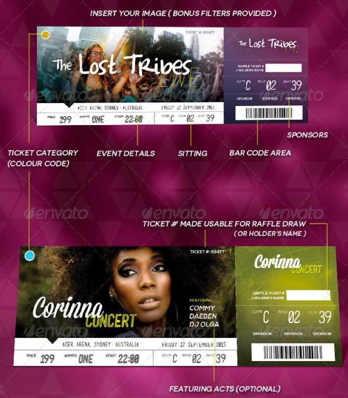 Customisable PSD Design Event Ticket Template Download Page 1