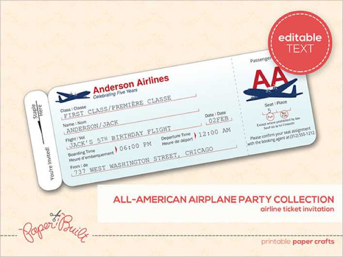 Customizable Airline Ticket Invitation Templae Page 1