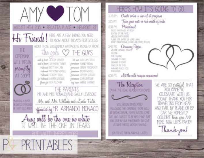 Customized Funny 6x9 Wedding Program Template Page 1