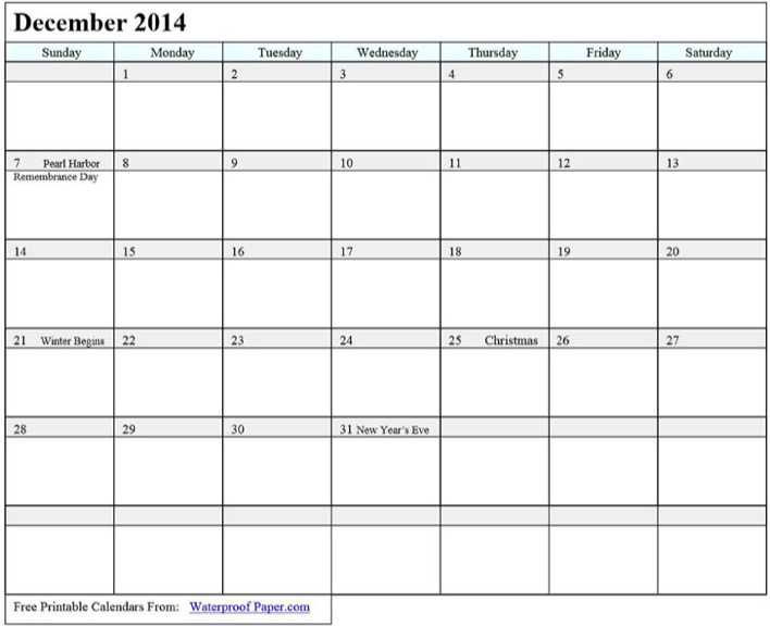 December 2014 Calendar 2 Page 1