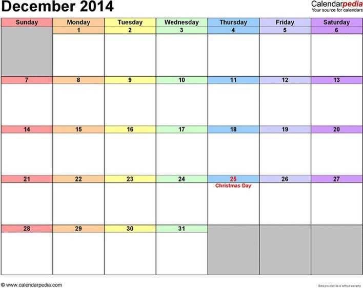 December 2014 Calendar 3 Page 1