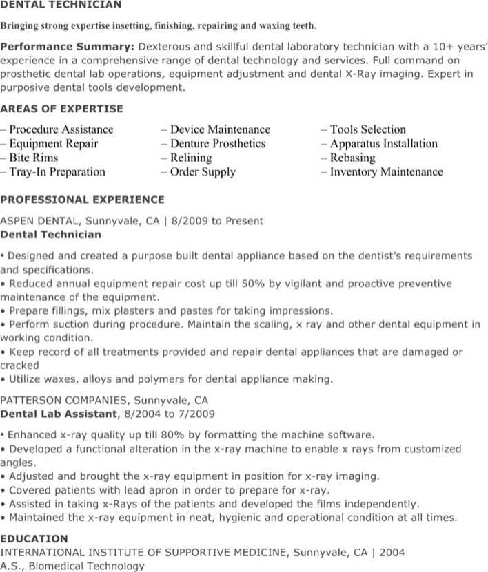 Dental Lab Technician Resume Page 1