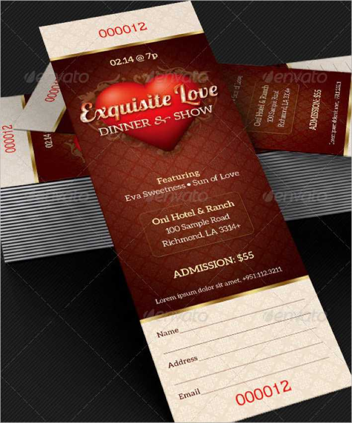 Christmas Party Ticket Template Free: Download Dinner & Dance Event Ticket Template For Free