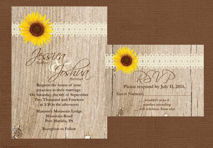 DIY Wood Rustic Wedding Invitation Template Download Page 1