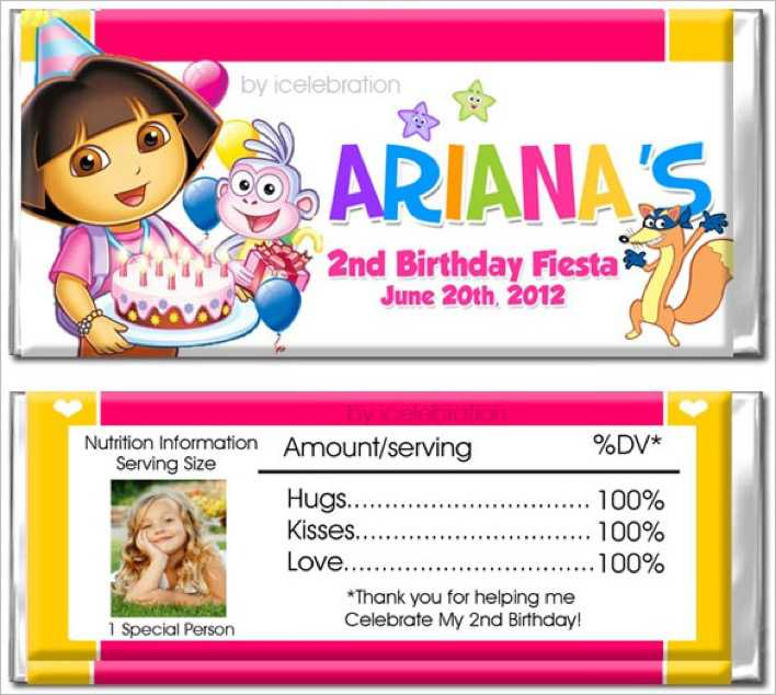Dora Personalized Candy Bar Wrapper Page 1