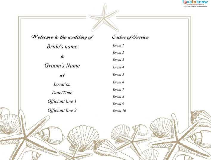 Download Beach Wedding Program Template Free PDF Page 1