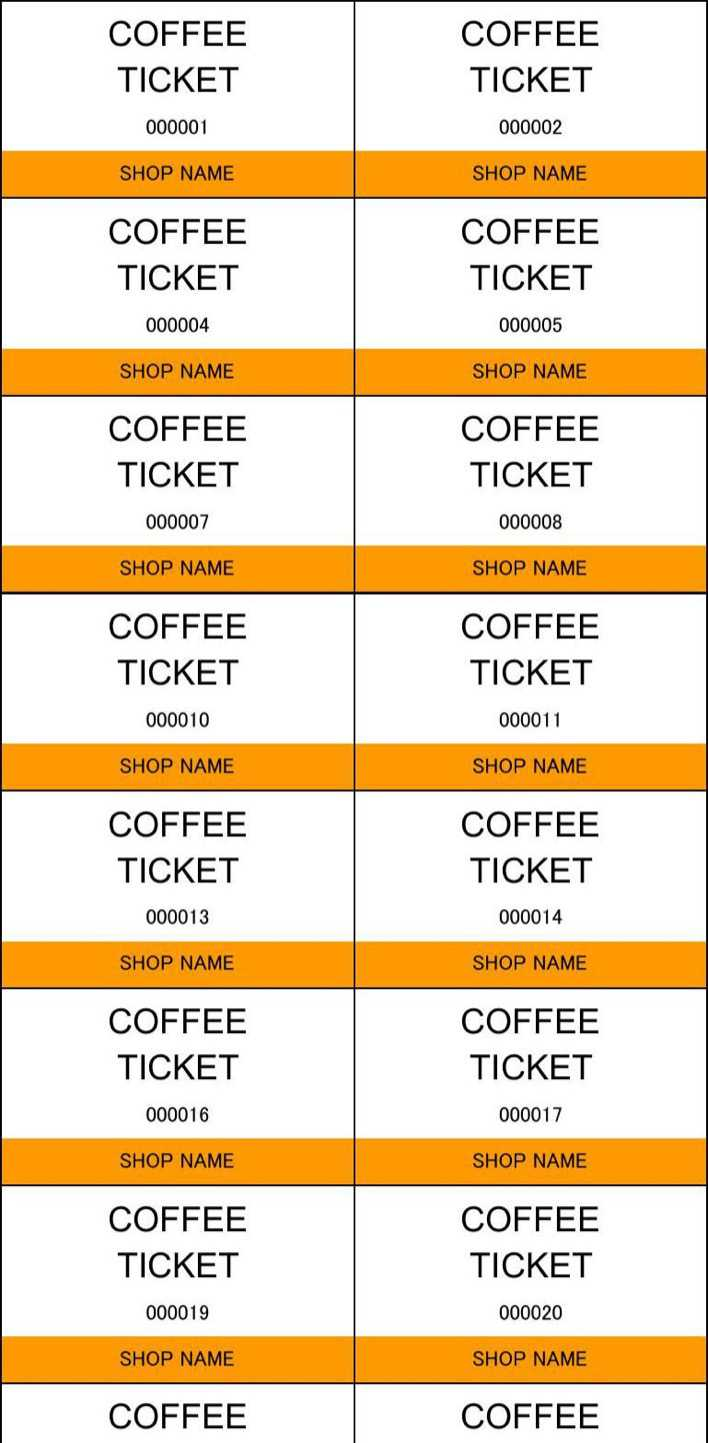 Download Coffee Ticket Template in Excel Page 1