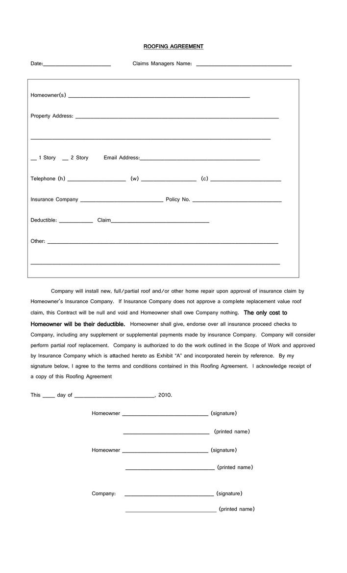 Download Download Free Roofing Contract Agreement Template Pdf