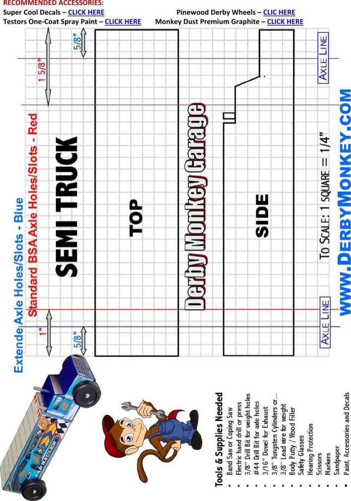 Download Pinewood Derby Semi Truck Template Page 1