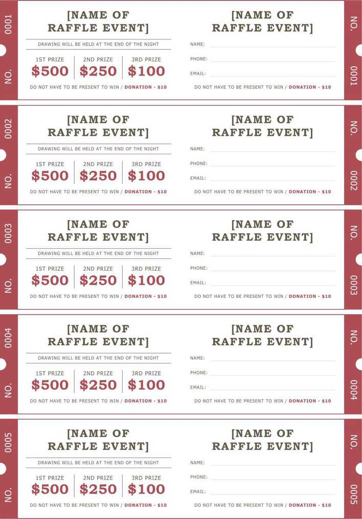 raffle ticket template for word