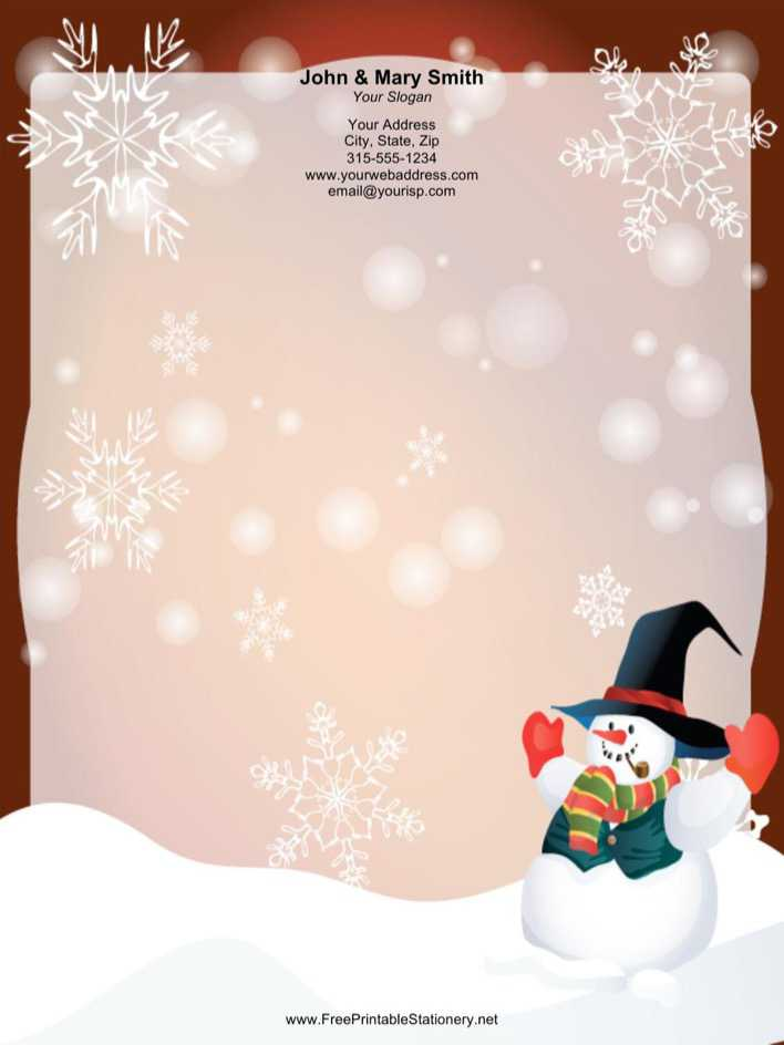 Download Well Dressed Snowman Stationery Design Page 1