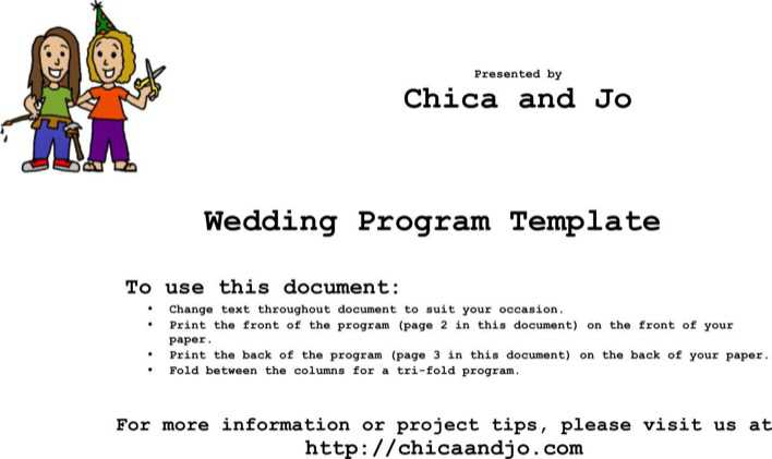 Editable Free Tri-Fold Wedding Program Template Word Doc Page 1