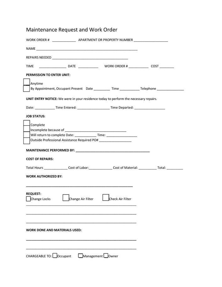 download editable repair work order template pdf format for free