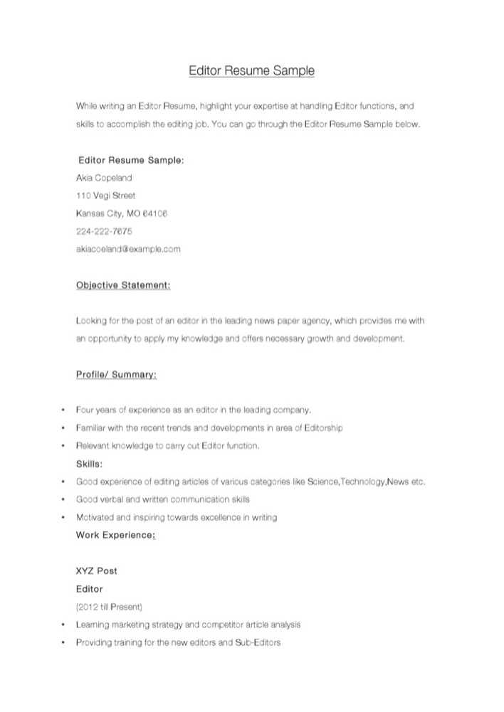 download editor resume sample for free