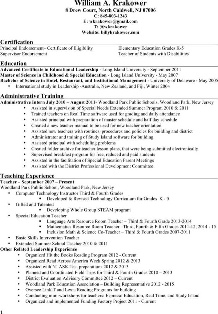 Elementary Principal Resume Page 1