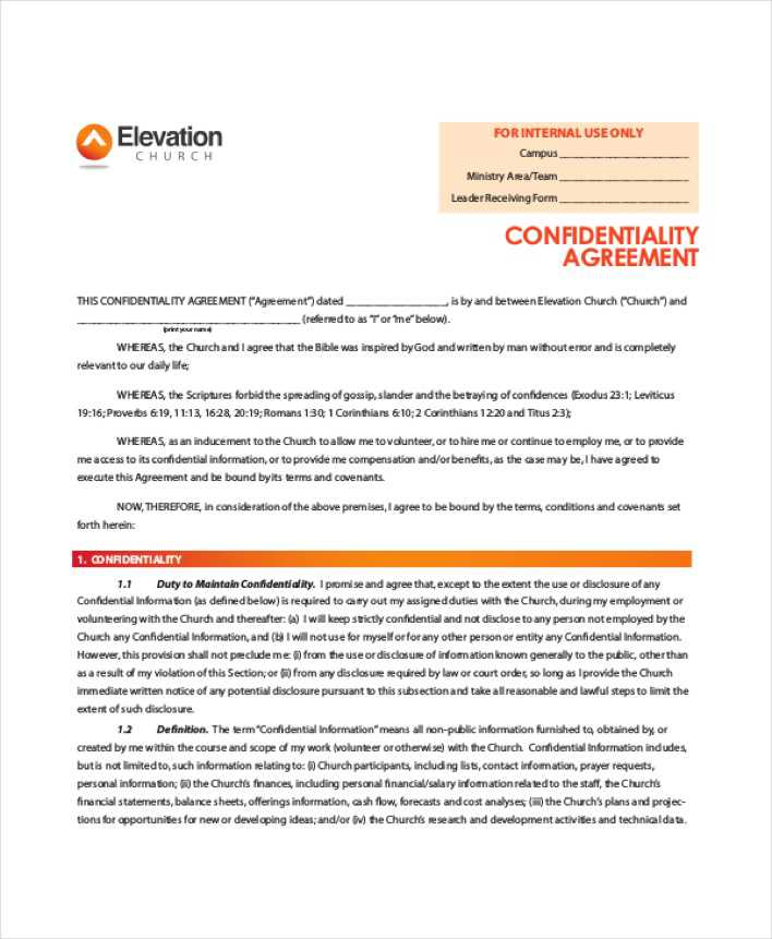 Download Elevation Church Generic Confidentiality Agreement For Free