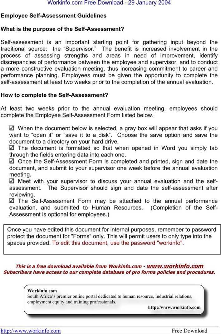 work self assessment samples