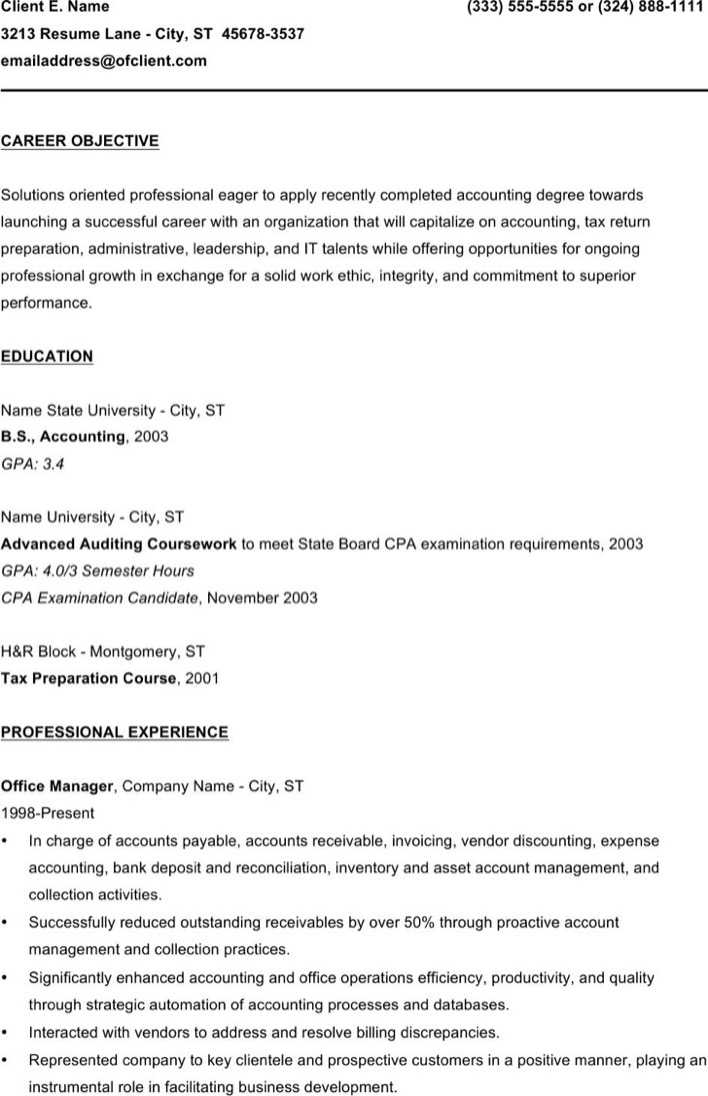 Entry Level Bookkeeper Resume Page 1
