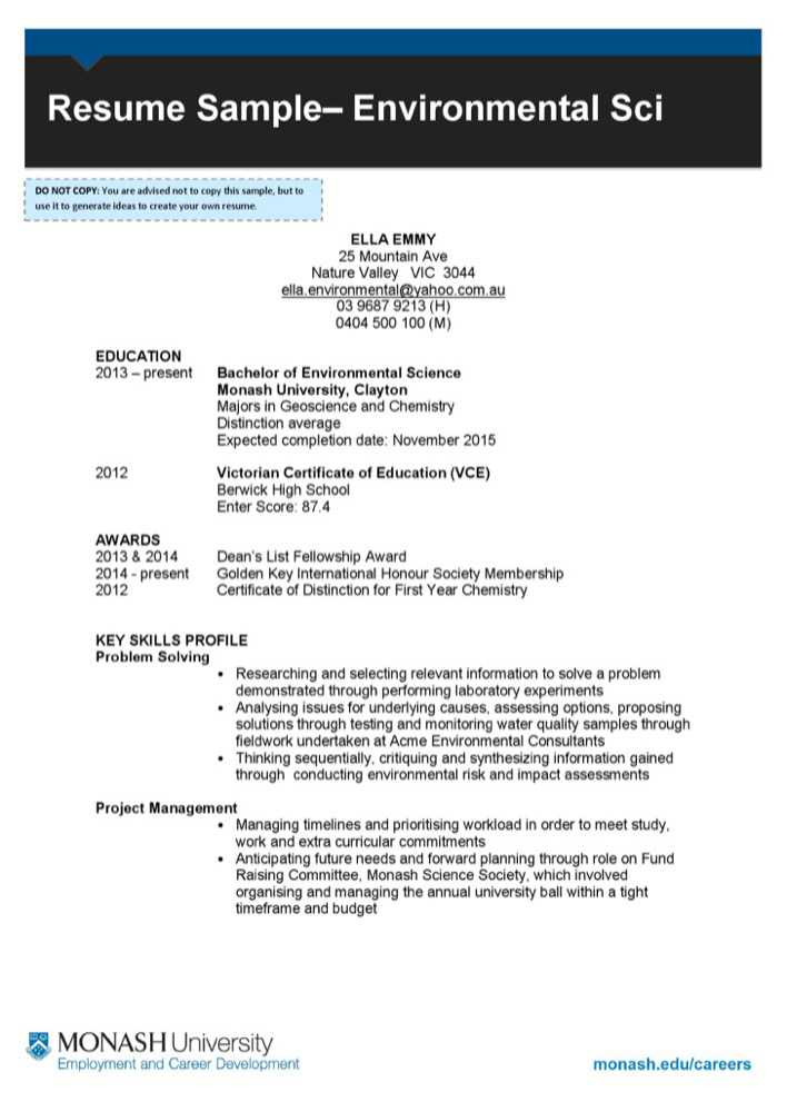 download environmental cv sample for free