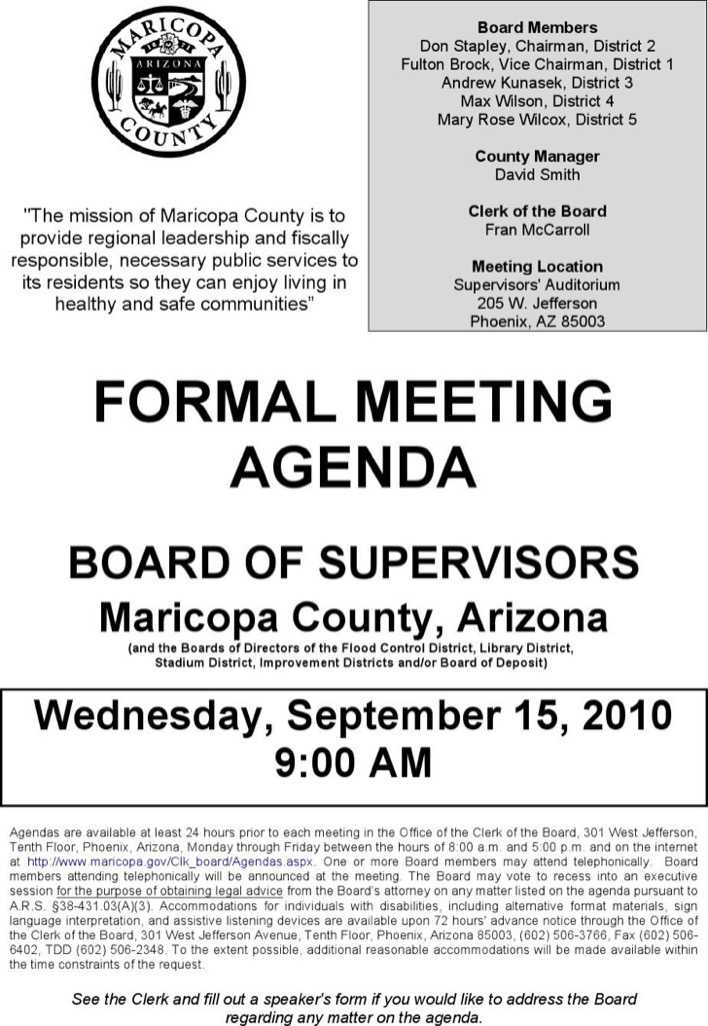 download example board of supervisiors formal meeting