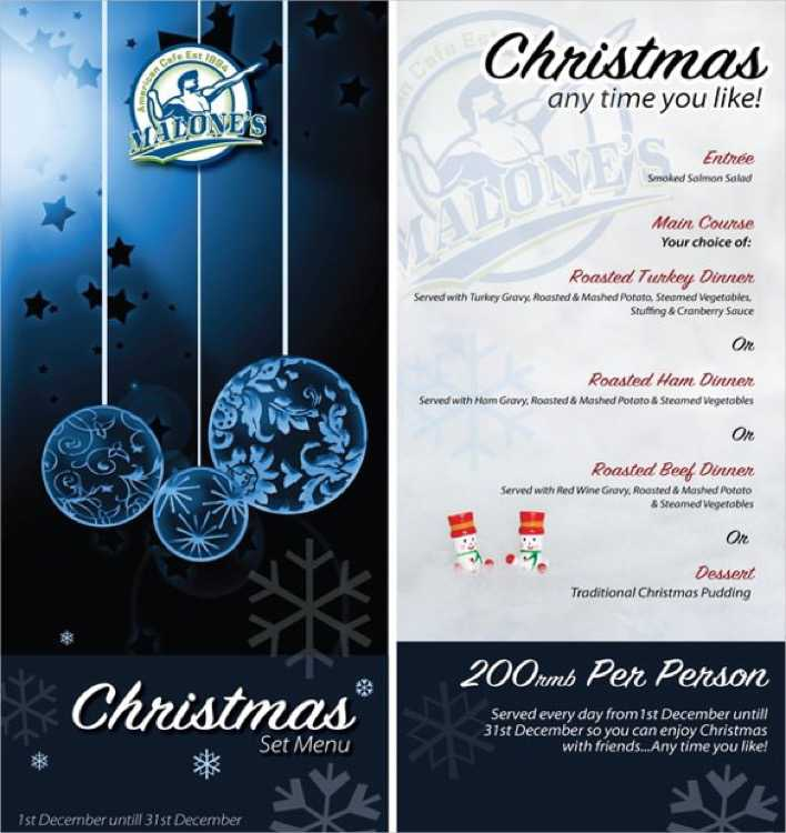 Example Christmas Menu Template 1 Page 1
