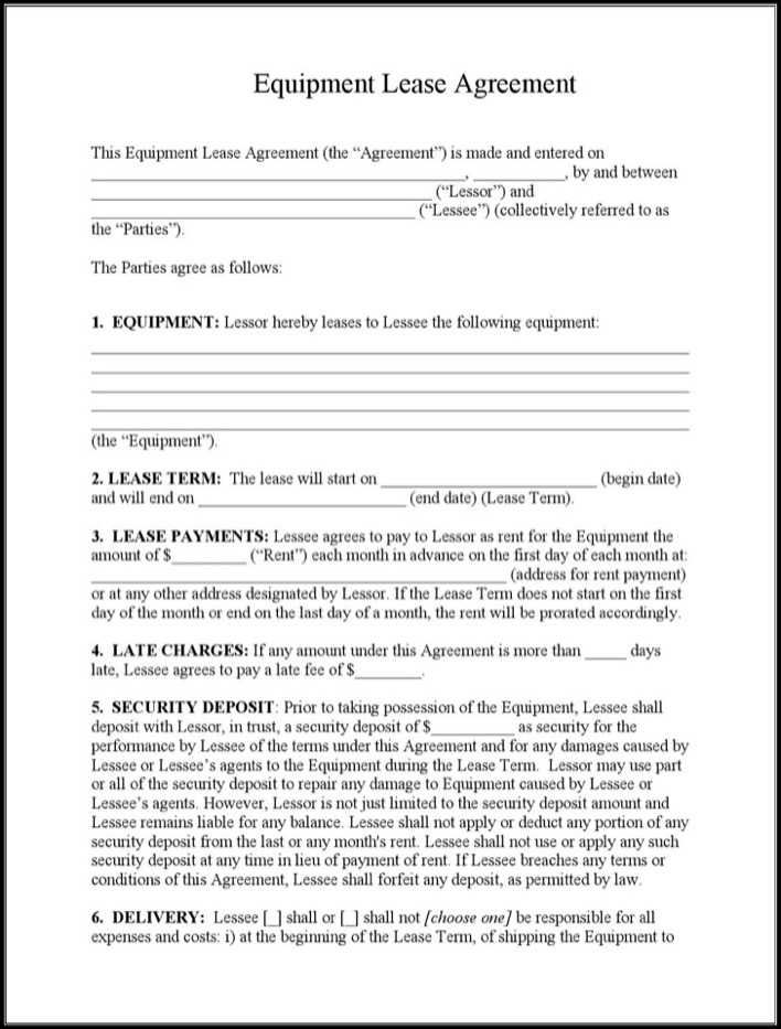 download example equipment lease agreement template for. Black Bedroom Furniture Sets. Home Design Ideas