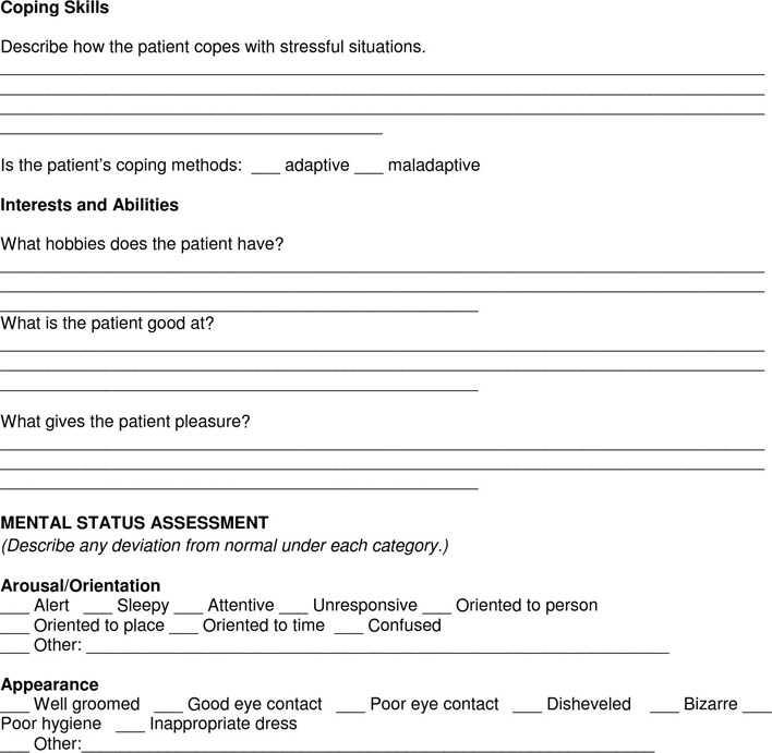 Psychosocial Essment | Download Example Of A Psychosocial Assessment For Free Page 6